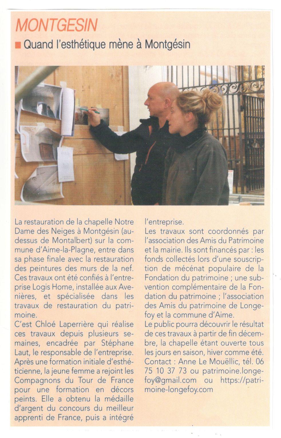 article Tarentaise Hebdo 7 nov 19